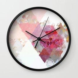Pink white rosegold triangle pattern Wall Clock