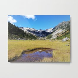 Mountains reflected in the shallow water Metal Print