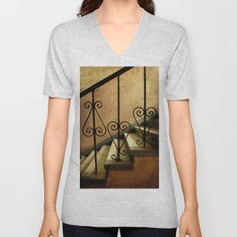 Old stairs with ornamented handrail Unisex V-Neck