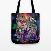guardians of the galaxy Tote Bags featuring Guardians of the Galaxy by Max Grecke