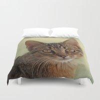 kitten Duvet Covers featuring kitten by lucyliu