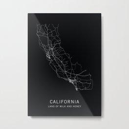California State Road Map Metal Print