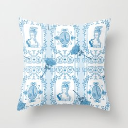 Marie-Antoinette Monogram (Aqua) Throw Pillow