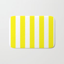Cadmium yellow - solid color - white vertical lines pattern Bath Mat