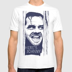 Here's Johnny! LARGE Mens Fitted Tee White