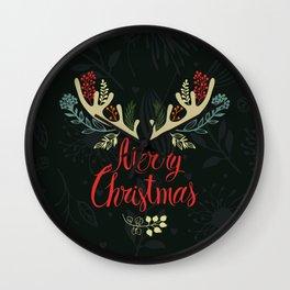 Green Deer horn Christmas Event Design Wall Clock