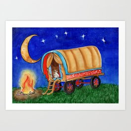 Gypsy Chicken in a covered Wagon Art Print