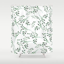 Hand painted green watercolor floral leaves Shower Curtain