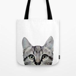 Cat, American Short hair, illustration original painting print Tote Bag