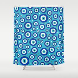 Greek Evil Eye pattern with golden accents Shower Curtain
