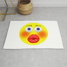 Smiley Embarrassed Kissing Girl Rug