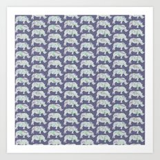 speckled rhinos Art Print