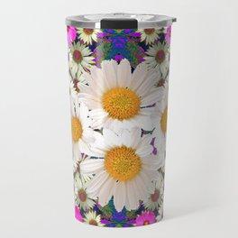 DAISIES & FUCHSIA COSMO FLOWER GARDEN Travel Mug