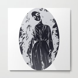 Ghost Lady With Bent Neck, Halloween Haunted Creepy Woman Illustration Metal Print