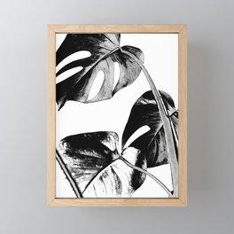 Black monstera leaves watercolor Framed Mini Art Print