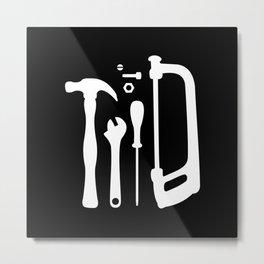 Black and White Tools Metal Print