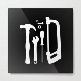 Black and White Tools Metal Print