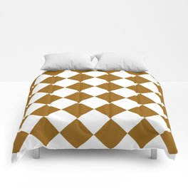 Large Diamonds - White and Golden Brown Comforters