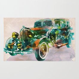Vintage Car in watercolor Rug