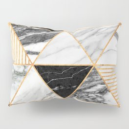 Marble Triangles 2 - Black and White Pillow Sham