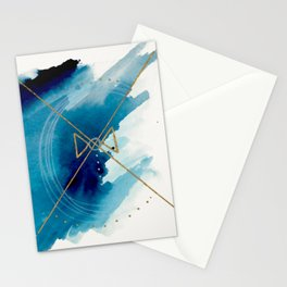 Galaxy Series 3 - a blue and gold abstract mixed media set Stationery Cards