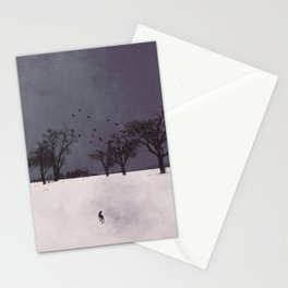 winter walk animals Stationery Cards