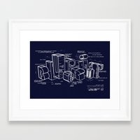 blueprint Framed Art Prints featuring Blueprint by Matthew McKenna