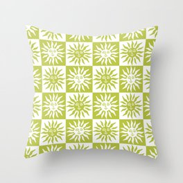 Mid Century Modern Sun Pattern Chartreuse Throw Pillow