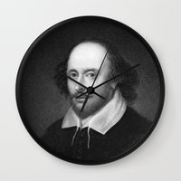 shakespeare Wall Clocks featuring William Shakespeare by Palazzo Art Gallery