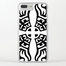 Black and White Scroll Pattern Clear iPhone Case