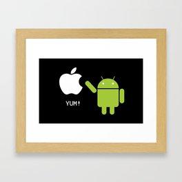 Android eats apple Framed Art Print