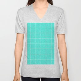 Graph Paper (White & Turquoise Pattern) Unisex V-Neck