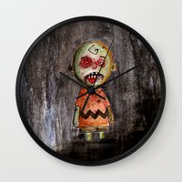 charlie brown Wall Clocks featuring You're a zombie Charlie Brown by byron rempel