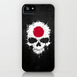 Flag of Japan on a Chaotic Splatter Skull iPhone Case