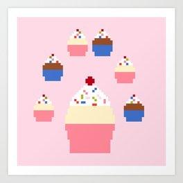 Pixel Cupcakes (Pink) Art Print