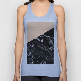 Modern elegant peach black marble color block Unisex Tank Top