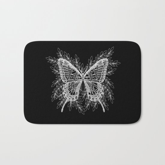 Black and White Butterfly Design Bath Mat