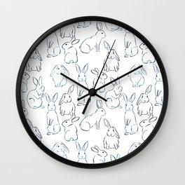 Indigo Bunnies Wall Clock