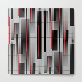 Off the Grid - Abstract - Gray, Black, Red Metal Print