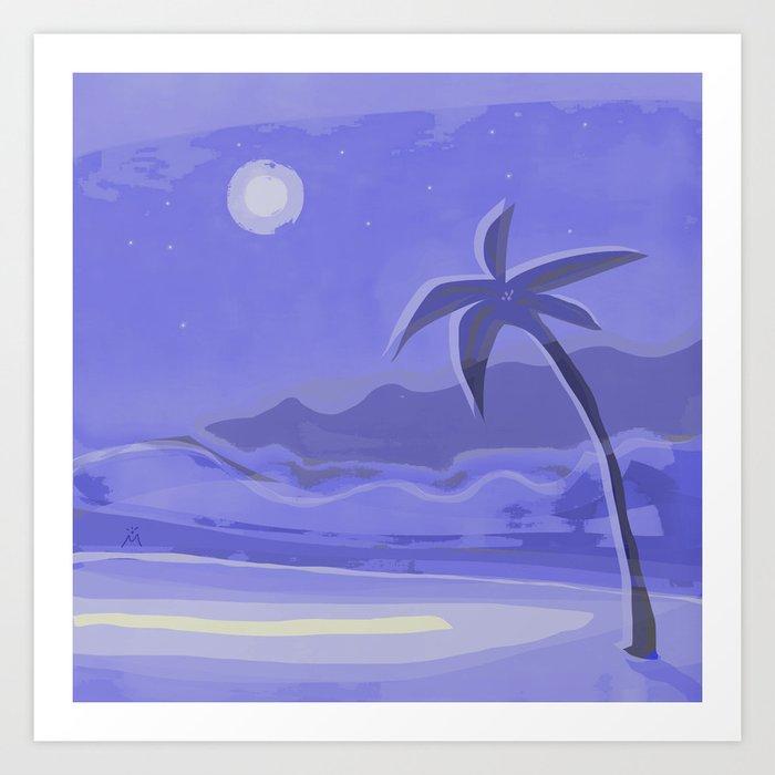 Beach, Palm, Moon Art Print