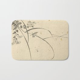 Vintage Chinese Ink and Brush Painting and Calligraphy Bath Mat