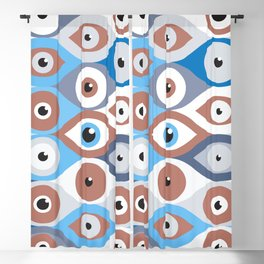 Evil Eye protection pattern terracotta and blues Blackout Curtain
