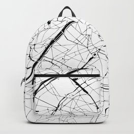 Paris France Minimal Street Map - Black and White Backpack