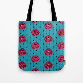 Hot Pink Flower With Barbed Wire On Light Blue Background Tote Bag