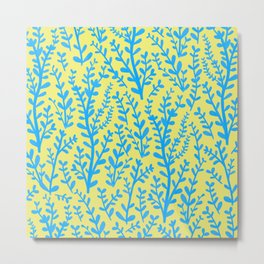 Yellow and Blue Floral Leaves Gouache Pattern Metal Print