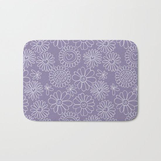 Violet doodle floral pattern Bath Mat