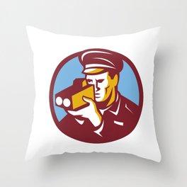 Policeman Speed Camera Scanning Circle Retro Throw Pillow