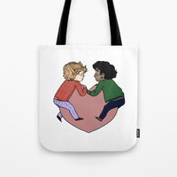 enjolras Tote Bags featuring Enjolras and Grantaire in love by Antisepticbandaid