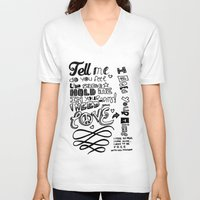lettering V-neck T-shirts featuring Lettering Lyrics by Insait