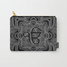 Black and white Ek Onkar / Ik Onkar  in mandala Carry-All Pouch